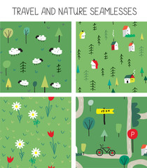 Travel and nature seamless patterns set
