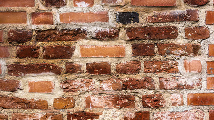 Old brick wall, close-up, texture. Front view