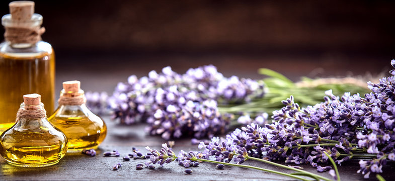 Panorama banner of lavender essential oil