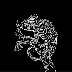 Hand drawn chameleon zentangle style.