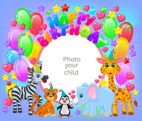 Birthday party cute animal frame your baby photo