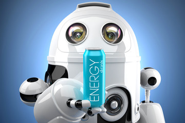 Robot with energy drink can. 3D illustration. Contains clipping path of can and entire scene