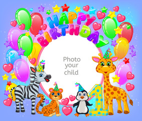 Birthday party frame your baby photo