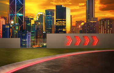 Wall Mural - Asphalt road with arrow fluorescent light signs and night scene city skyline background