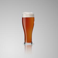 Transparent glass with dark beer.