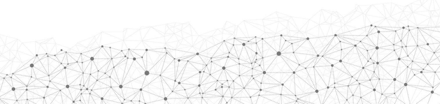 Abstract dotted network triangles white background vector grayscale