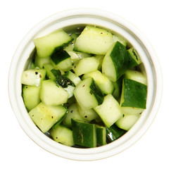 Bowl of Marinated Cucumbers
