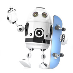 Robot skateboarder. 3D illustration. Isolated. Contains clipping path