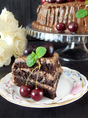 A piece of chocolate cake decorated with cherries and mint