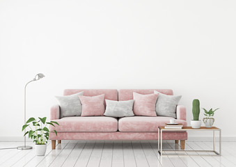 Livingroom interior wall mock up with pink fabric sofa and pillows on white wall background with free space on top. 3d rendering.