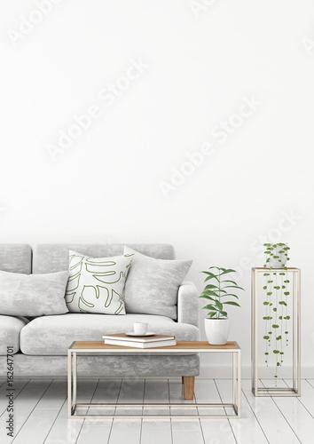 Strange Scandinavian Style Interior Wall Mock Up With Gray Velvet Dailytribune Chair Design For Home Dailytribuneorg