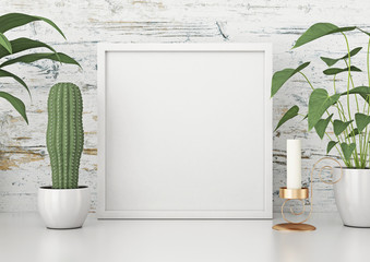 Square frame poster mock up with green plants on white wooden wall background. 3d rendering.