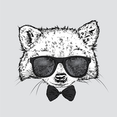 A cute raccoon with glasses and a tie. Vector illustration for a postcard or a poster, print for clothes. Wild animal in clothes.
