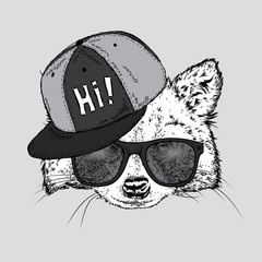 Lovely raccoon in a cap and glasses. Vector illustration for a postcard or a poster, print for clothes. Wild animal in clothes.