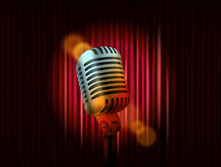 Opening stage curtains with golden microphone vector illustration. Standup show template