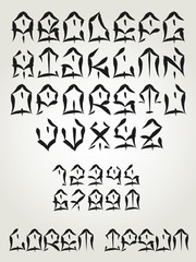 West Coast graffiti font - Hand written tattoo lettering- Vector alphabet