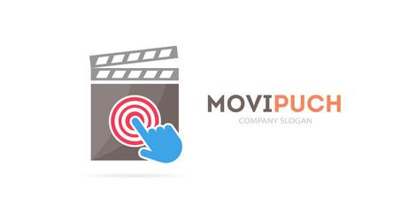 clapperboard and click logo combination. Cinema and cursor symbol or icon. Unique movie and video logotype design template.