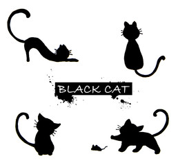 Set of black cat's silhouette.
