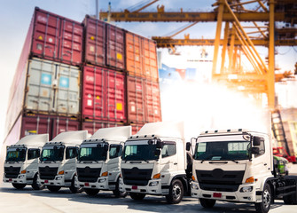 Truck fleet at container port