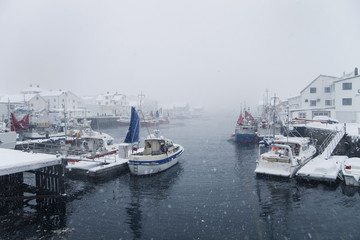 Snowy bay in norway