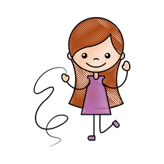 cute girl with ribbon character icon vector illustration design