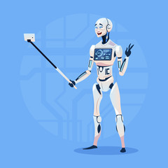 Modern Robot Taking Selfie Photo Futuristic Artificial Intelligence Technology Concept Flat Vector Illustration