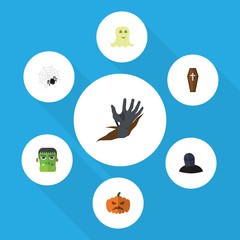Flat Icon Celebrate Set Of Zombie, Pumpkin, Tomb And Other Vector Objects. Also Includes Cobweb, Hand, Casket Elements.