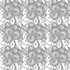 Seamless Black And White Pattern Zentangle Design Vector Illustration