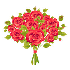 red roses, flowers, isolated on a white