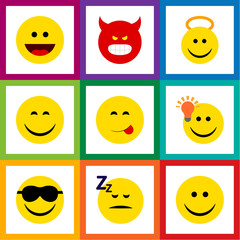 Flat Icon Expression Set Of Pouting, Happy, Joy And Other Vector Objects. Also Includes Cheerful, Happy, Savoring Elements.