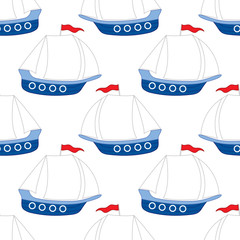 Vector Seamless Pattern with Ship. Vector Boat. Ship Seamless Pattern Vector Illustration.