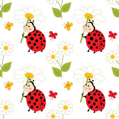 Vector Seamless Pattern with Cute Ladybugs. Vector Ladybug. Ladybug Seamless Pattern Vector Illustration.