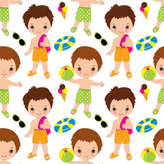 Vector Seamless Pattern with Cute Little Boys. Pool Party Seamless Pattern Vector Illustration.