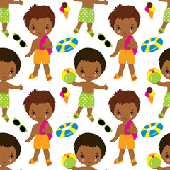 Vector Seamless Pattern with African American Cute Little Boys. Pool Party Seamless Pattern Vector Illustration.