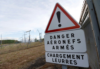 A danger signs is pictured near the QRA area (Air policing quick reaction alert), at the French Air Force base in Mont-de-Marsan