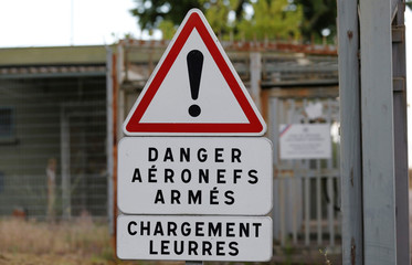A danger sign is pictured near the QRA area (Air policing quick reaction alert), at the French Air Force base in Mont-de-Marsan