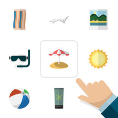 Flat Icon Beach Set Of Wiper, Sunshine, Parasol And Other Vector Objects. Also Includes Reminders, Sphere, Cream Elements.