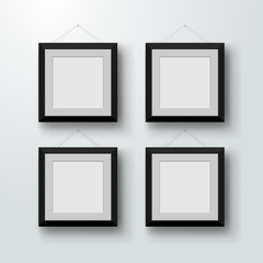 Blank photo frames on the wall. Design for a modern interior. Vector illustration. Isolated on gray background