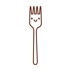 fork cutlery kawaii character vector illustration design