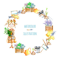 Wreath with watercolor cute Gardener girl and garden tools illustrations, hand painted isolated on a white background