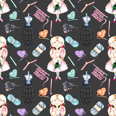 Seamless pattern with watercolor cute Girl-needlewoman and knitting elements: yarn, knitting needles and crochet hooks, hand painted isolated on a dark background