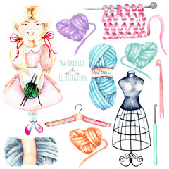 Set of watercolor cute Girl-needlewoman and knitting elements: yarn, knitting needles and crochet hooks, hand painted isolated on a white background