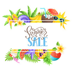 Tropical summer objects in square composition isolated on white background. Summer sale wording with colorful beach objects in square frame. Fresh tropical fruits and cocktail icons.