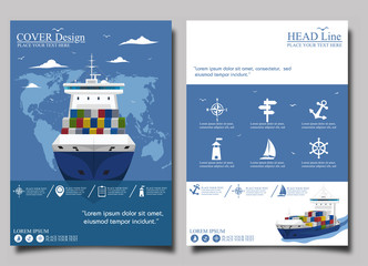 Sea shipping poster template set