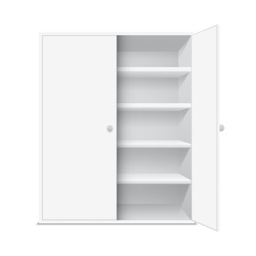 White cabinet with open door, isolated on white