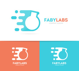 fast bulb logo combination. Speed lab bottle symbol or icon. Unique science and laboratory logotype design template.