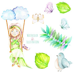 Set of watercolor Girl swinging on a swing, a butterfies, bird and floral elements, hand painted isolated on a white background