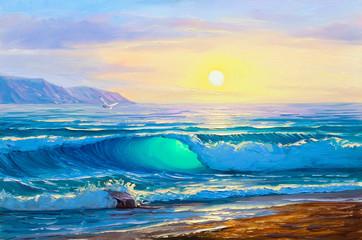 Sunrise over  sea. Painting seascape.