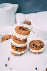 Homemade Chocolate chip ice cream cookies