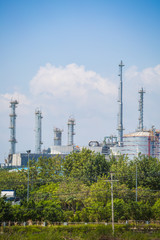 Big structure of oil refinery plant in day time